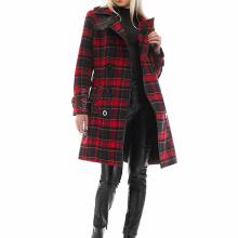 двубортное зимнее пальто в клетку